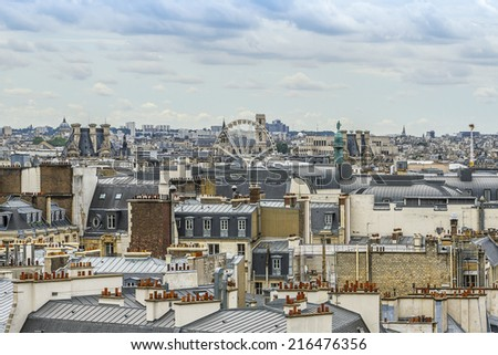 Panorama of Paris. View from Printemps store. France.