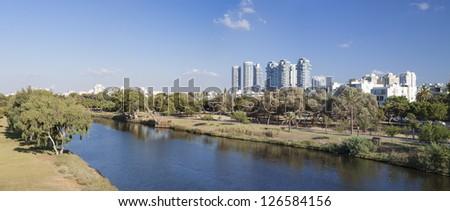 Panorama of Park Ayalon and Tel Aviv Cityscape - stock photo