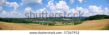 Panorama of Pecsi lake in south Hungary - stock photo