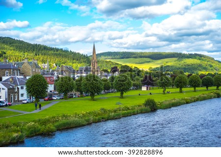 Panorama of Peebles with the river Tweed, Scottish borders,  Scotland, UK