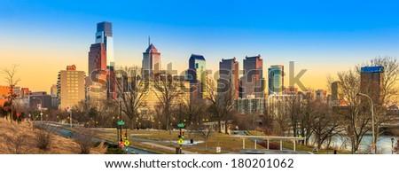 Panorama of Philadelphia city skyline  at sunset - stock photo