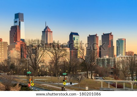 Panorama of Philadelphia city skyline  at sunset