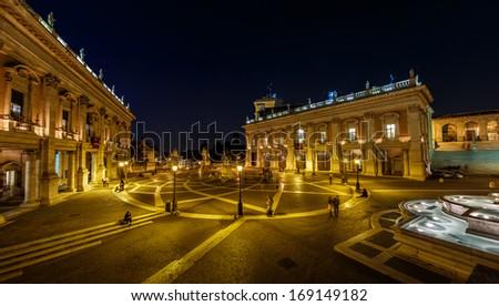 Panorama of Piazza del Campidoglio on Capitoline Hill with Palazzo Senatorio and Equestrian Statue of Marcus Aurelius, Rome, Italy - stock photo