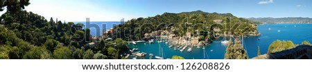 Panorama of Portofino town in Italy - stock photo