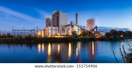 Panorama of Power Plant, Stoeken by Hannover,Germany. at Evening - stock photo