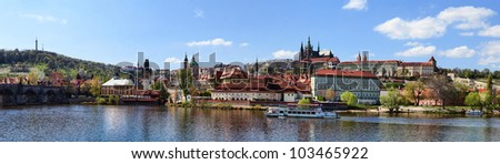 Panorama of Prague Castle, Lesser Town, Charles Bridge and river Moldau in Spring - stock photo