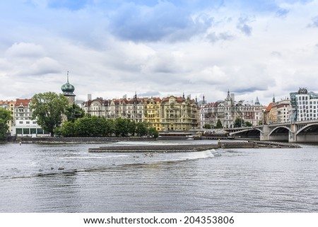 Panorama of Prague Stare Mesto embankment and Vltava river. Prague, Czech Republic.