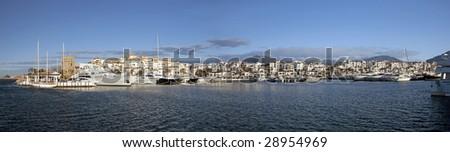 Panorama of Puerto Banus Yacht Harbour, Costa del Sol, Spain - stock photo