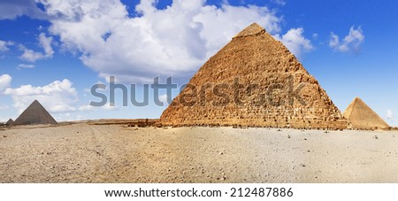 Panorama of pyramids in Giza, Egypt - stock photo