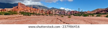 Panorama of Quebrada de las Conchas near Cafayate, Salta Province, Argentina - stock photo
