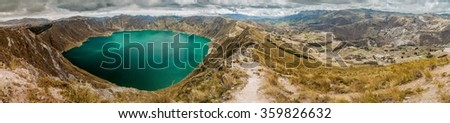 Panorama of Quilotoa crater and valley of Toachi river,  Ecuador - stock photo