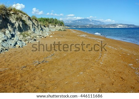 Panorama of Red sands of xsi beach, Kefalonia, Ionian Islands, Greece - stock photo