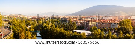 Panorama of residential districts of Pamplona in sunny morning