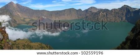 Panorama of Rinjani volcano, Lombok island, Indonesia - stock photo
