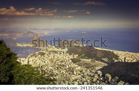 Panorama of Rio de Janeiro with Copacabana Beach, Brazil - stock photo