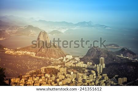 Panorama of Rio de Janeiro with light leaks, Brazil - stock photo