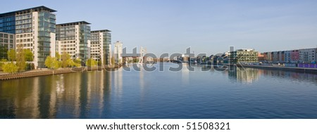 Panorama of river Spree in Berlin - stock photo