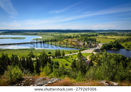 panorama of river valley - stock photo
