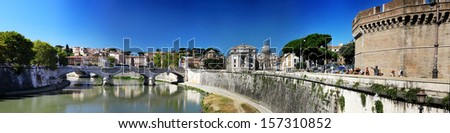 panorama of Rome and Vatican City - stock photo