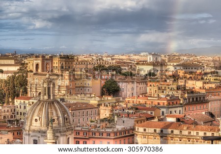 Panorama of Rome from Altar of Fatherland at evening  rainy day in Rome, Italy.