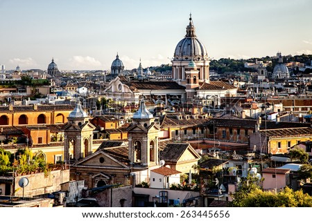 Panorama of Rome from Spanish steps in the evening  - stock photo