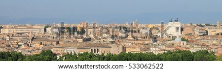 Panorama of Rome with Domes and National monument of Victor Emmanuel II