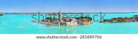 Panorama of San Giorgio Maggiore viewed from the main island, Venetian Lagoon, northern Italy, Venice - stock photo