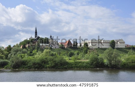 Panorama of Sandomierz from the river Wisla - stock photo
