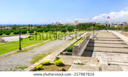 Panorama of Santo Domingo, Dominican Republic. A view from Christopher Columbus lighthouse. - stock photo