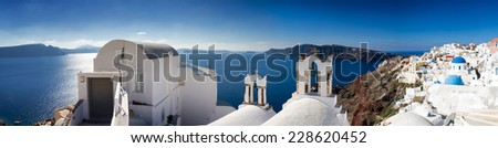 Panorama of Santorini, Cyclades, Greece - stock photo