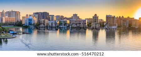 Panorama of Sarasota skyline at dawn, Florida