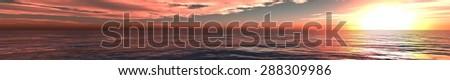 panorama of sea sunset - stock photo