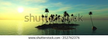 panorama of sea sunset, island and palms, Banner - stock photo