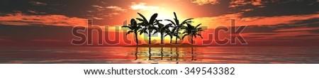 panorama of sea sunset. Island. palms. - stock photo