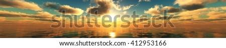 panorama of sea sunset, ocean sunrise, banner, 3D rendering. - stock photo