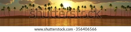 panorama of sea sunset, sunrise, Banner, Island. seascape. palms - stock photo