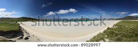Panorama of Seilebost Beach on South Harris on a glorious summer day - stock photo