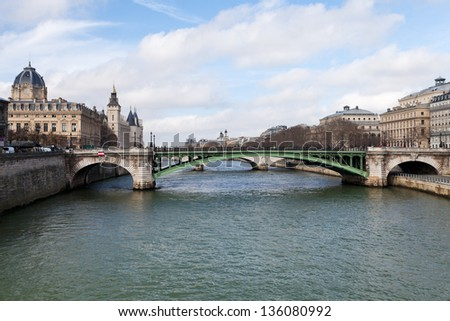 panorama of Seine river and Pont de Notre Dame in Paris in spring - stock photo
