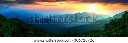 Panorama of Seoraksan National Park, The best of Mountain in South Korea. - stock photo