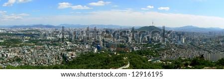 Panorama of Seoul, South Korea - stock photo