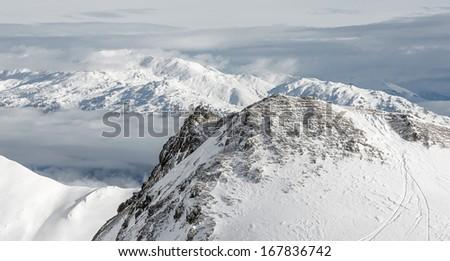 Panorama of Ski resort of a valley of Zillertal - Mayrhofen region, Austria - stock photo