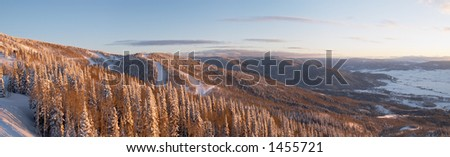 Panorama of ski slopes at winter, Steamboat ski resort, Colorado, United States - stock photo