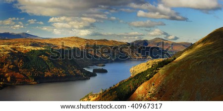 Panorama of Skiddaw and Thirlmere from Helvellyn in the English Lake District