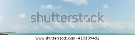 Panorama of sky above a beach in a tropical country - stock photo