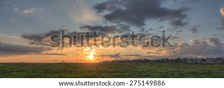 panorama of sky with clouds at dawn - stock photo