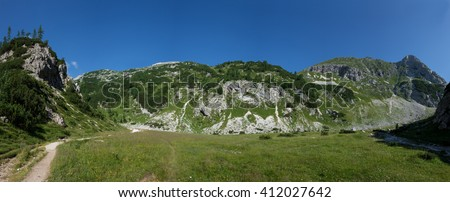 Panorama of Slovenian mountains with Mali Draski Vrh