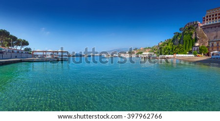 Panorama of Sorrento, gulf view. The province of Campania. Italy. - stock photo