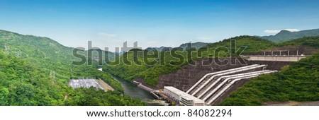 Panorama of Srinakarind dam in Kanchanaburi, Thailand - stock photo
