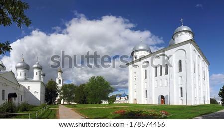 Panorama of St. George Monastery in Veliky Novgorod Russia - stock photo
