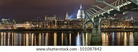 Panorama of St Pauls Cathedral and Millennium bridge London, Great Britain